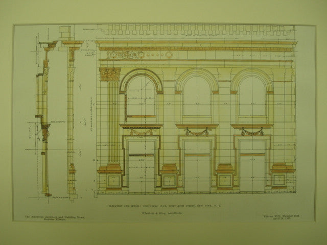 Elevation and Detail of the Engineers' Club on West 40th Street , New York, NY, 1907, Whitfield & King