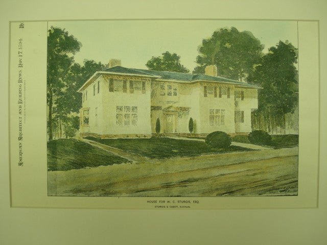 House for W. C. Sturgis, Esq., 1894, Sturgis & Cabot