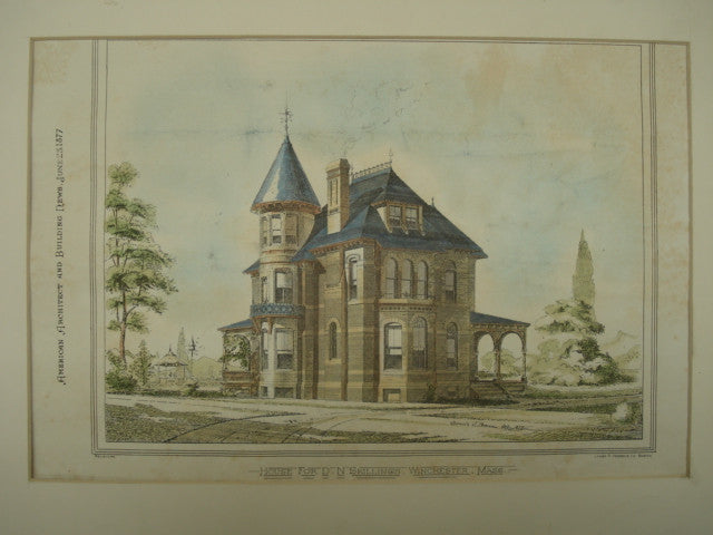 House for D. N. Skillings , Winchester, MA, 1877, G. D. Rand