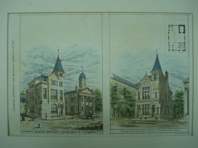Competitive Design for the Northampton Savings Bank , Northampton, MA, 1877, Ferry & Gardner