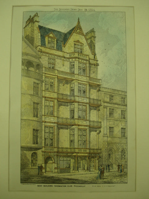 New Building for the Badminton Club in Piccadilly, London, England, UK, 1884, R. W. Edis