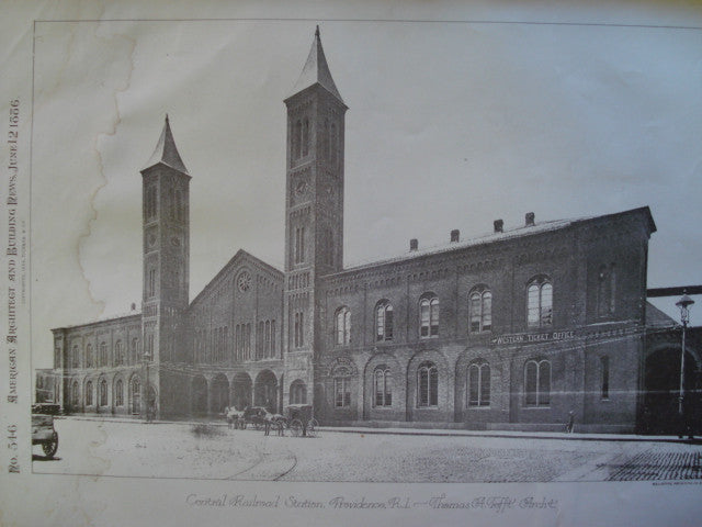 Central Railroad Station, Providence, RI, 1886, Thomas A. Tefft