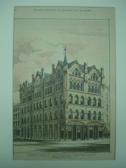 Building on the Corner of North Salina and Church Streets , Syracuse, NY, 1877, Archimedes Russell