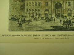 Building on the Corner of Third and Market Streets for Claus Spreckels, Esq., San Francisco, CA, 1897, James W. & Merritt J. Reid