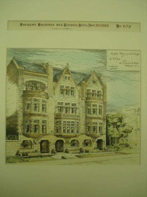 English Basement Dwellings for Col. R. W. Tyler and Geo. A. Woodward , Washington, DC, 1888, T. F. Schneider