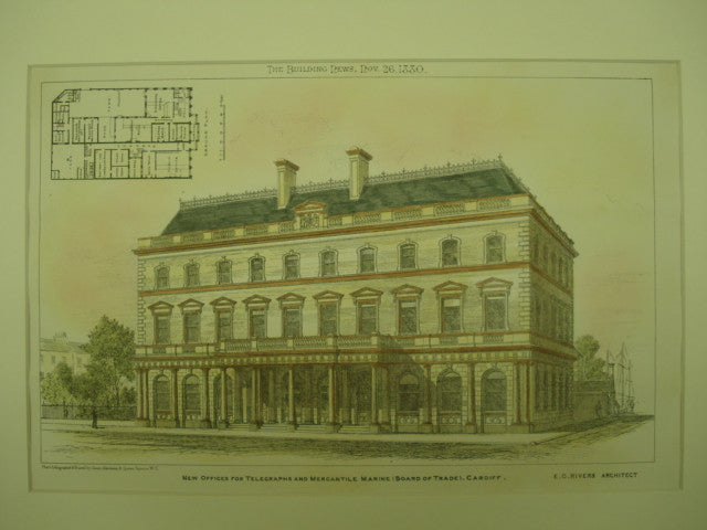 New Offices for Telegraphs and Mercantile Marine , Cardiff, Wales, UK, 1880, E. G. Rivers