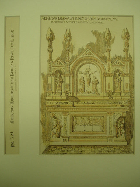 Altar and Reredos of St. Luke's Church , Brooklyn, NY, 1886, Frederick C. Withers