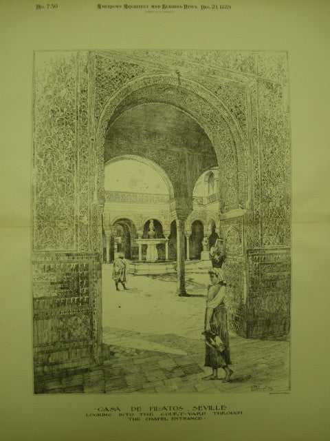 Court-Yard of the Casa de Pilatos , Seville, Spain, EUR, 1889, Unknown