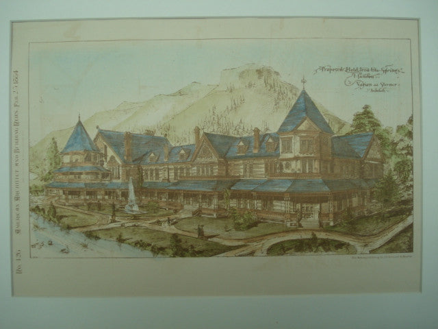 Proposed Hotel in Iron Ute Springs , Manitou Springs, CO, 1884, Varian & Sterner