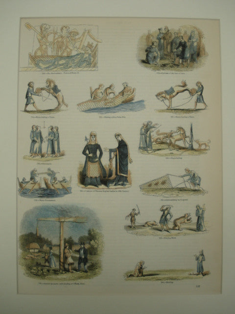 English Activities in the Middle Ages, showing horse-baiting, bird catching, bear-baiting and more, 1851, n/a