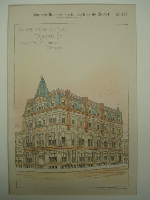 Chamber of Commerce Building , Atlanta, GA, 1884, Messrs. Fay & Eichberg