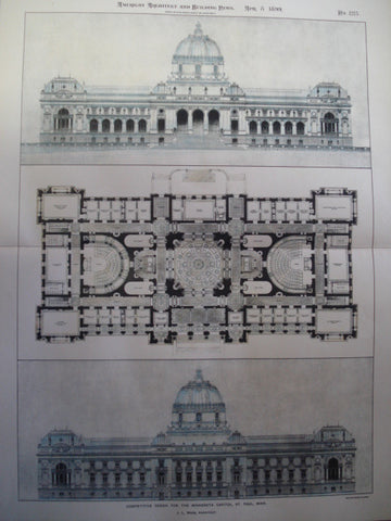Competitive Design for the Minnesota Capitol , St. Paul, MN, 1899, J.L. Wees