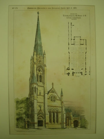 Design for Trinity Church in St. Johns, New Brunswick, Canada. Potter & Robertson. 1879. Original Plan