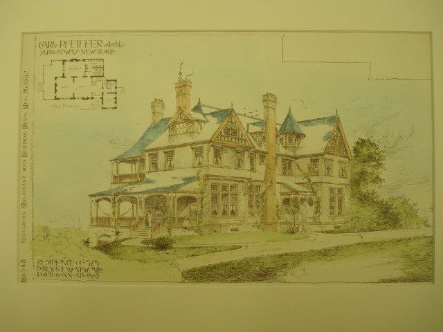 Residence of Wm. D. Black, Esq., New Milford, CT, 1882, Carl Pfeiffer
