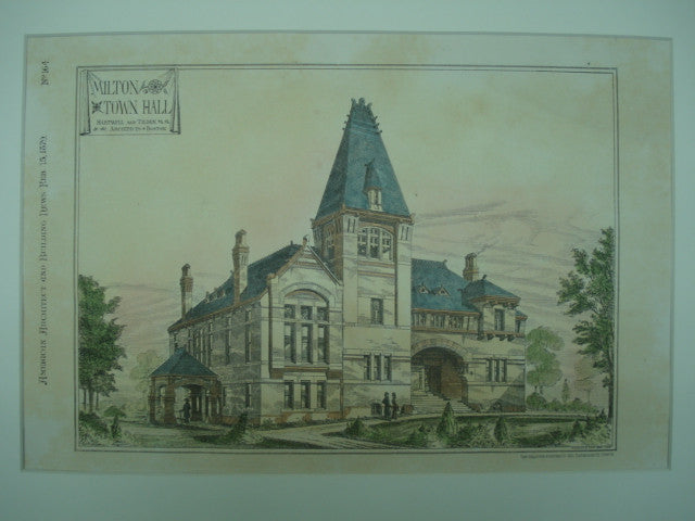 Milton Town Hall in Milton, Massachusetts. Hartwell & Tilden. 1879. Original Plan