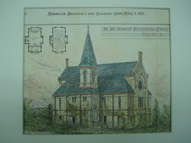Mt. Ida Memorial Presbyterian Church in Troy, New York. M. F. Cummings. 1879. Original Plan