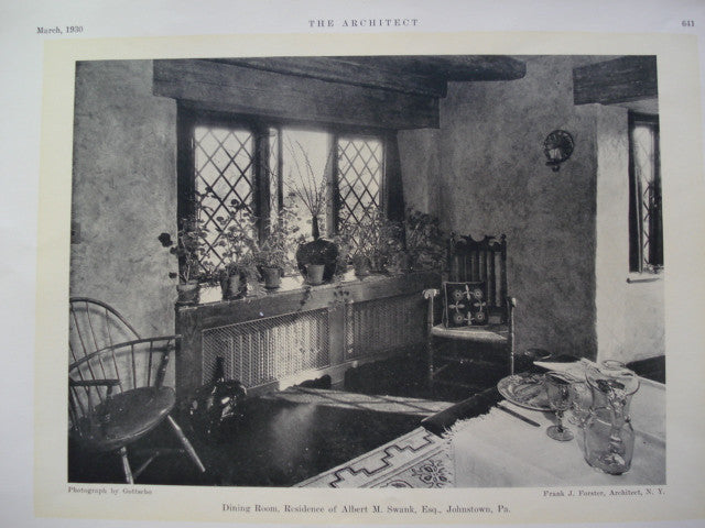 Dining Room in the Residence of Albert M. Swank, Esq., , Johnstown, PA, 1930, Frank J. Forster