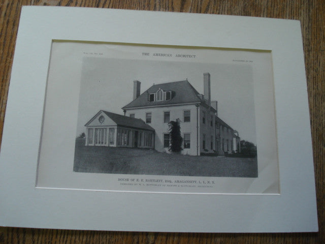 House of E.E. Bartlett,ESQ, Amagansett, L.I., NY. 1916. W.L. Bottomley. Original Photograph