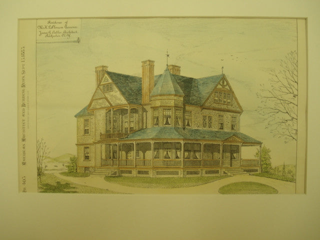 Residence of H. L. Slosson, Geneva, NY, 1883, James G. Cutler