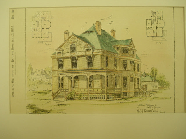 Suburban Residence for F. S. James, Chicago, IL, 1883, J. J. Flanders