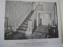 House of George K. Smith, ESQ. Second story hall and staircase views, St. Louis, MO, 1915, Messrs. Roth & Study
