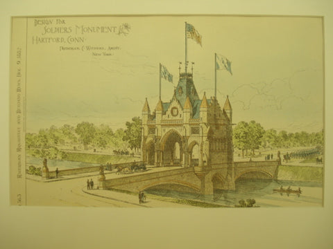 Design for Soldiers Monument, Hartford, CT, 1882, Frederick C. Withers