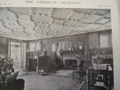 House of Robert O. Hayward, ESQ. Interior view showing living room, and also floor plans, Bronxville, NY, 1915, Messrs. Bates & Howe