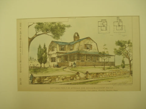 Cottage for F. W. Sprague, Kennebunkport, ME, 1882, H. P. Clark and Ion Lewis