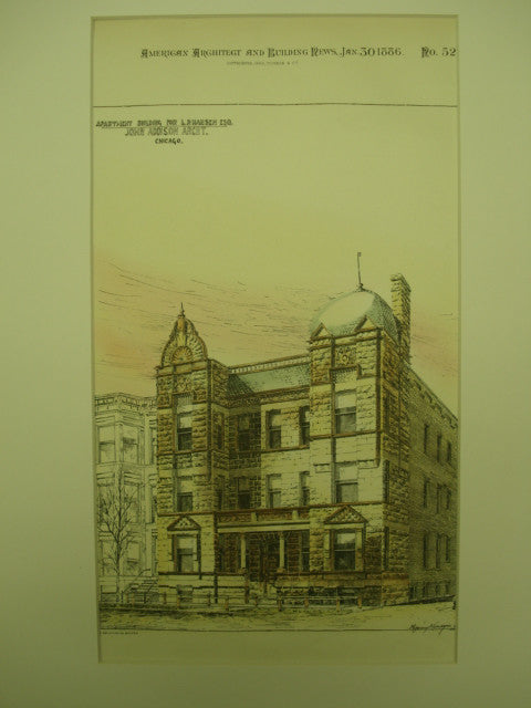 Apartment Building for L. P. Hansen, Esq. , Chicago, IL, 1886, John Addison
