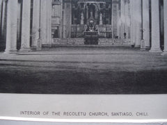 Interior of the Recoletu Church , Santiago, Chili, LAM, 1890, Unknown