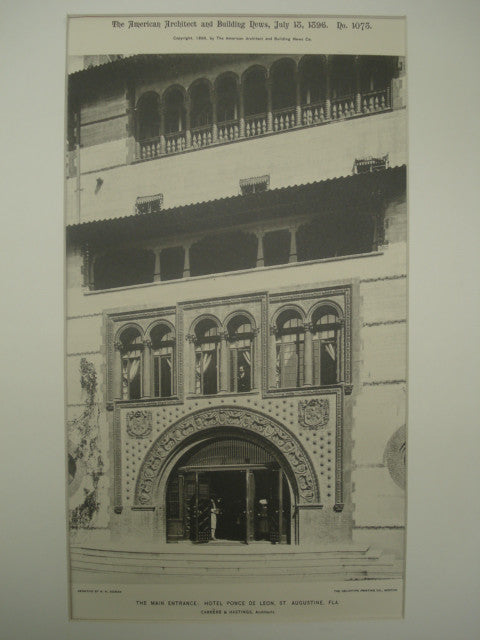 Main Entrance of the Hotel Ponce de Leon , St. Augustine, FL, 1896, Carrere & Hastings