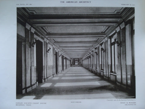 Main Corridor in the Shelby County Court House , Memphis, TN, 1910, Hale & Rogers