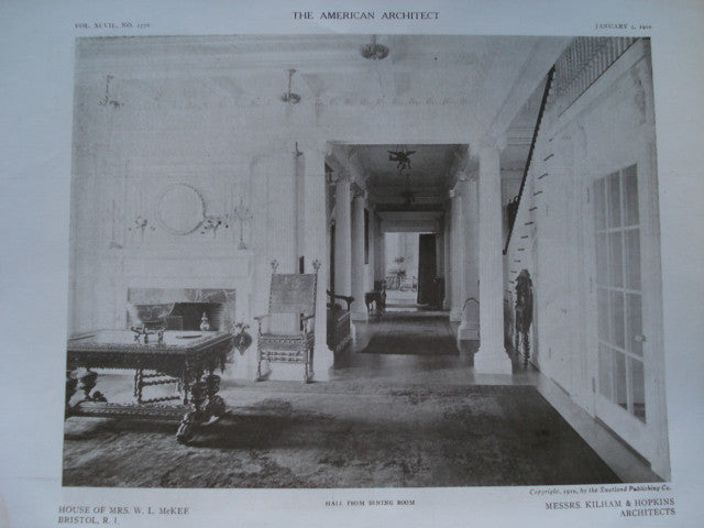 Hall from the Dining Room in the House of Mrs. W.L. McKee , Bristol, RI, 1910, Kilham & Hopkins