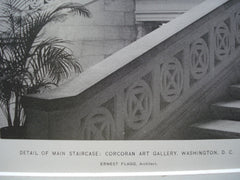 Detail of the Main Staircase: Corcoran Art Gallery , Washington, DC, 1898, Ernest Flagg