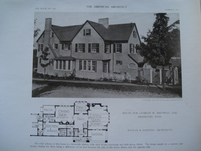House for Charles W. Birtwell, Esq., Brookline, MA, 1910, Kilham & Hopkins