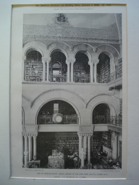 End of Reading-Room: State Library in the New York Capitol , Albany, NY, 1898, H.H. Richardson and I.G. Perry