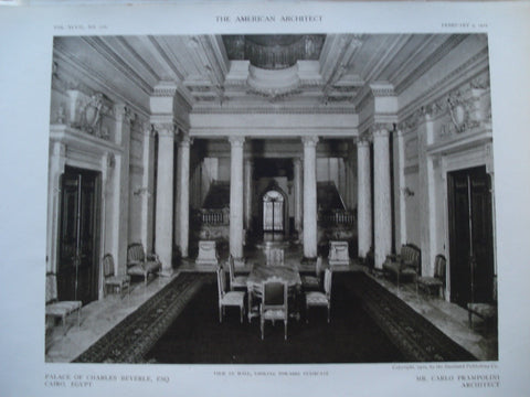 View in the Hall, looking towards the Staircase in the Palace of Charles Beyerle, Esq., Cairo, Egypt, AFR, 1910, Carlo Prampolini