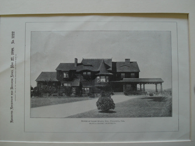 House of Jason Evans, Esq., Pasadena, CA, 1899, Blick & Moore