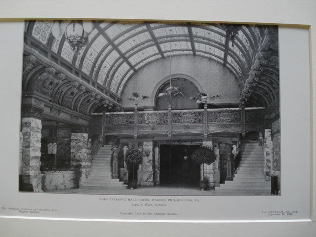 Main Entrance Hall: Hotel Walton, Philadelphia, PA, 1905, Angus S. Wade