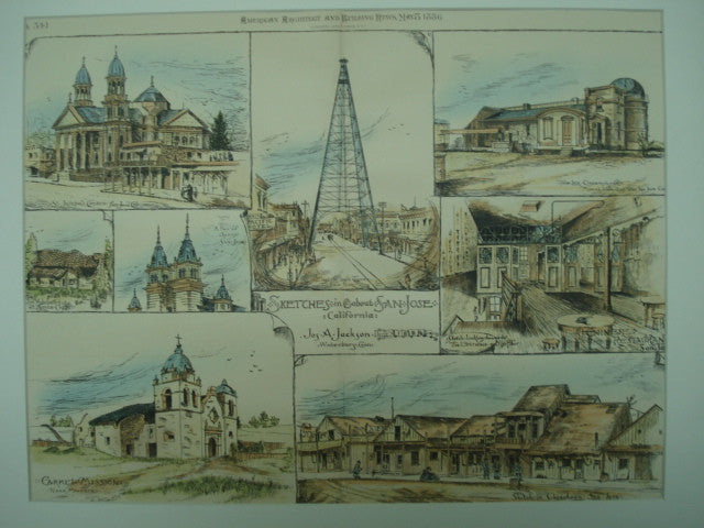 Sketches in and about San Jose, San Jose, CA, 1886, Jos. A. Jackson