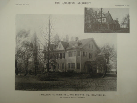 Alterations to the House of A. Von Bernuth, Esq., Strafford, PA, 1913, George S. Idell