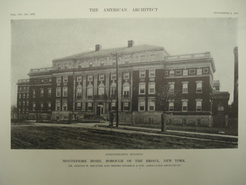 Administration Building of the Montefiore Home , Bronx, NY, 1913, Mr. Arnold W. Brunner and Messrs. Buchman & Fox