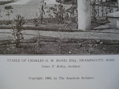 Stable of Charles G.W. Bond, Esq., Swampscott, MA, 1905, James T. Kelley