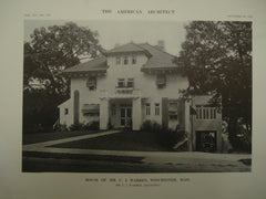 House of Mr. C. J. Warren, Winchester, MA, 1913, C. J. Warren