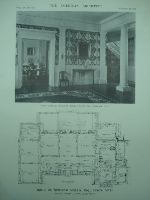 Interior and First Floor Plan of the House of Newbold Morris, Esq., Lenox, MA, 1913, Hoppin & Koen