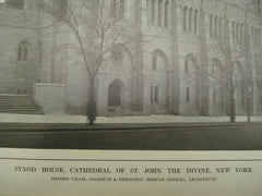 Exterior of the Synod House at the Cathedral of St. John the Divine , New York, NY, 1913, Cram, Goodhue & Ferguson