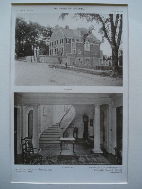 Rear view and the Staircase Hall in the House of Alfred C. Potter, Esq., Cambridge, MA, 1910, Richard Arnold Fisher