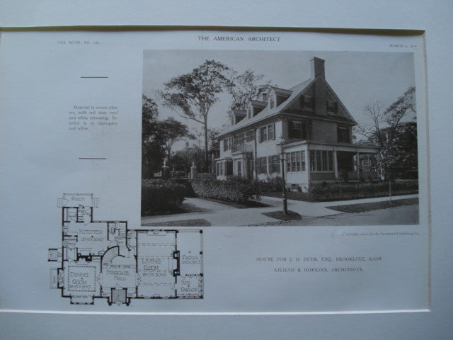 House for J.H. Duer, Esq. , Brookline, MA, 1910, Kilham & Hopkins