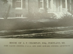House of A. P. Champlin, Esq., Porland, ME, 1913, John Calvin Stevens and John Howard Stevens