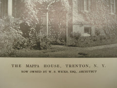 Exterior of the Mappa House , Trenton, NY, 1913, W. S. Wicks